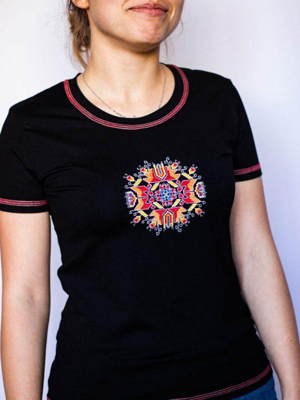 Черна тениска Слънце