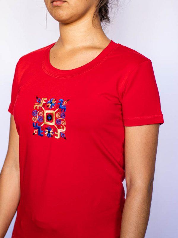 Червена Тениска Македонка съсСиньо